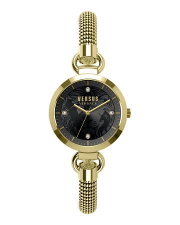 Roslyn 34mm Mesh Bracelet Watch, Gold/black