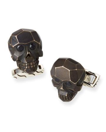 Classic Chain Black Sapphire Skull Cufflinks