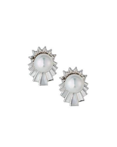 14k Geometric Diamond & Freshwater Pearl