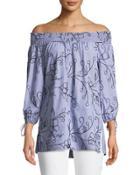 Off-the-shoulder Embroidered Poplin Blouse