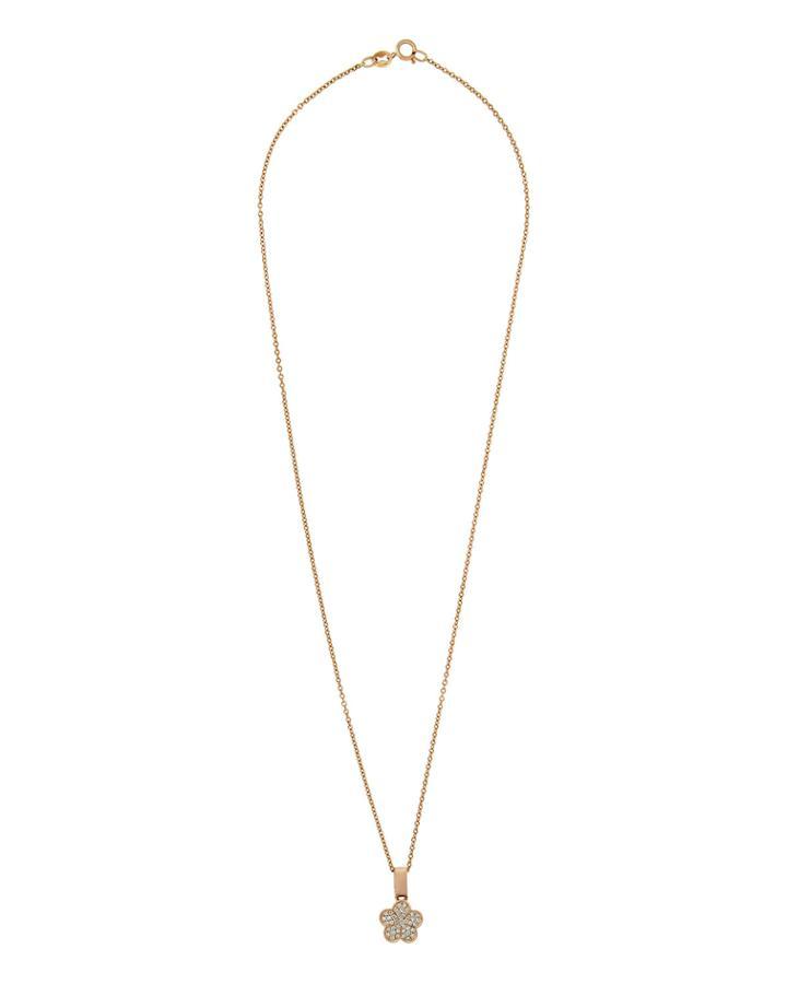 18k Rose Gold Diamond Flower Pendant Necklace