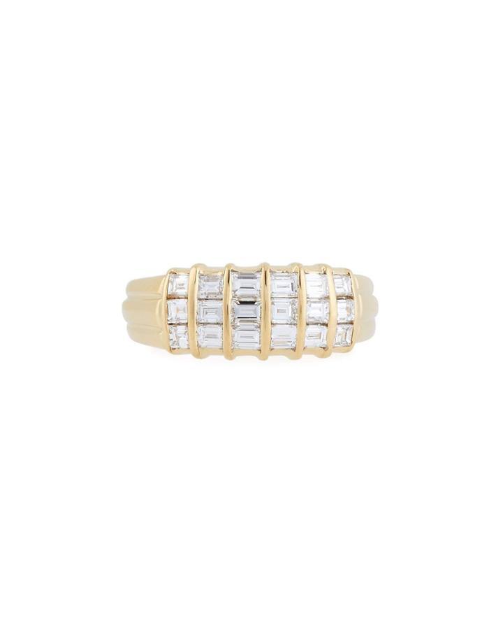 18k 3-row Diamond Ring,