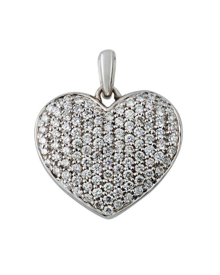 18k White Gold Diamond Pave Heart Pendant