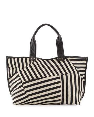 Modern Faux-leather-trim Striped Tote Bag, Black/white