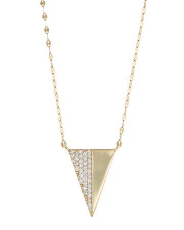 14k Electric Diamond Triangle Pendant Necklace