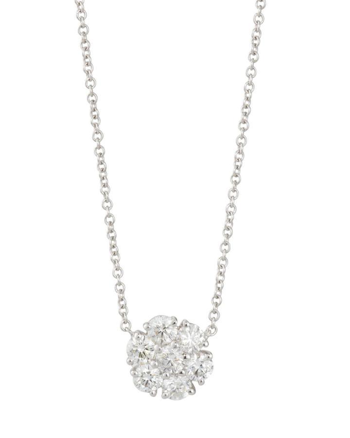 18k White Gold Diamond Cluster Pendant Necklace