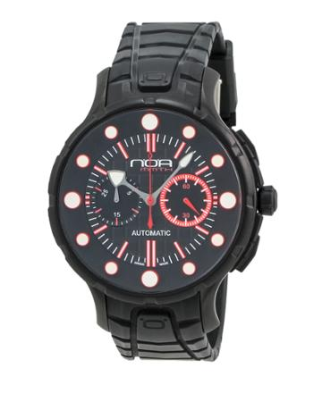 Rubber-strap Chronograph Watch, Black/red