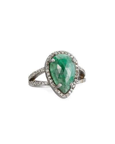 Emerald & Pave Champagne Diamond Ring,