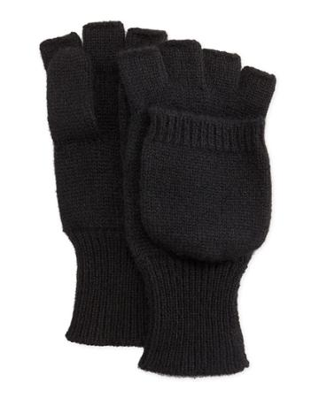 Neiman Marcus Cashmere Convertible Mittens, Black, Women's