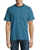 Short-sleeve Striped Tee, Navy