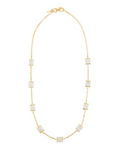 Long Rosary Cube Necklace, White