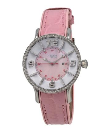 Alligator-strap Diamond-dial Watch, Pink/white