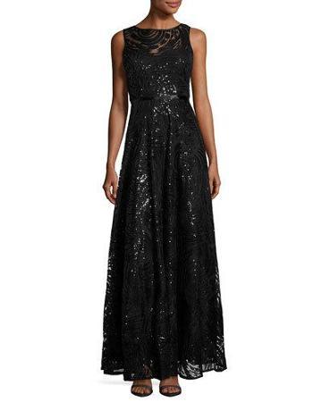Sequin-embellished Swing Gown, Black