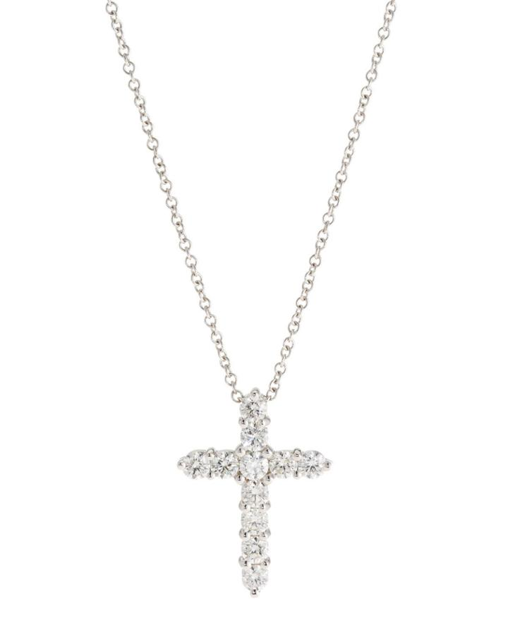 18k Diamond Cross Pendant Necklace,