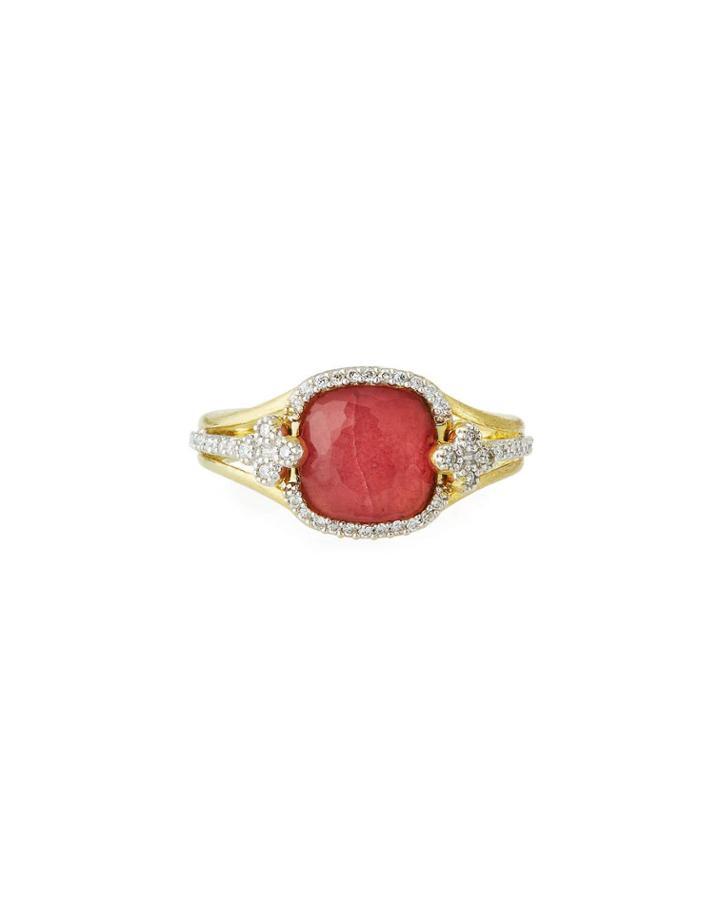 18k Provence Triplet Cushion & Diamond Ring,