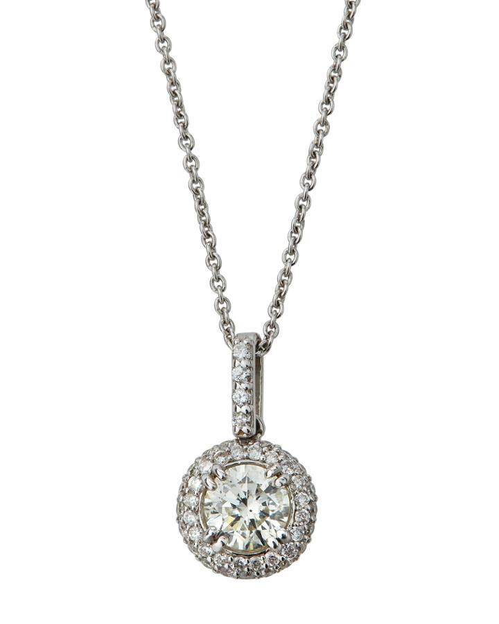 18k White Gold Round Diamond Pendant Necklace,