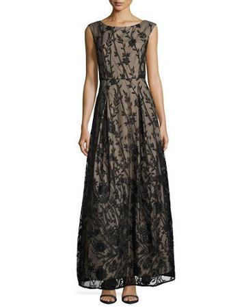 Floral-embellished Ballroom Gown