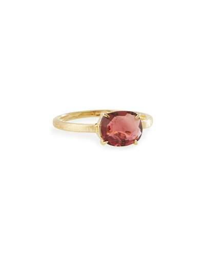 Murano 18k Oval Pink Tourmaline Solitaire Ring,