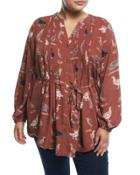 Bird-print Pintuck Blouse,