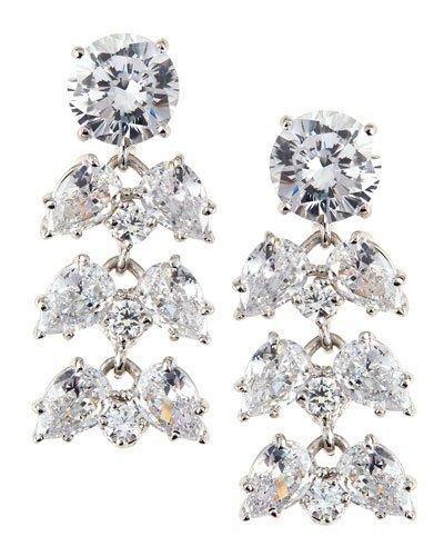 Oval/pear-cut Cz Chandelier Earrings