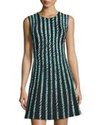 Sleeveless Graphic-striped Dress,