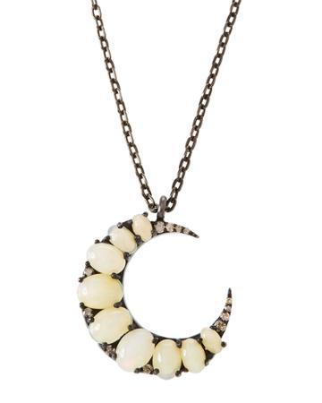 Opal Crescent Moon Pendant Necklace