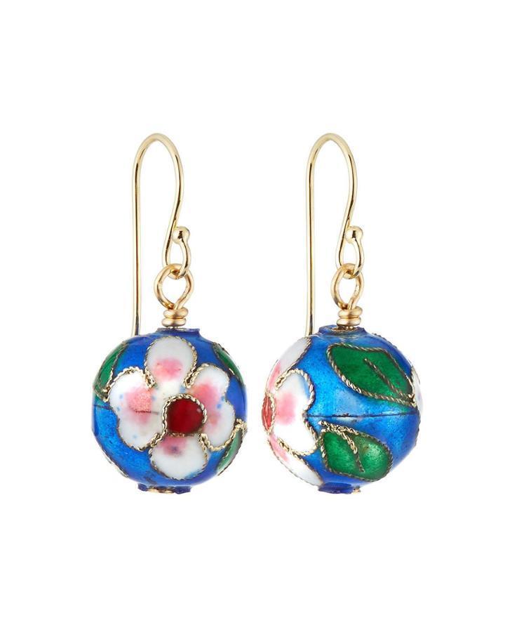 Cloisonne Bead Earrings, Blue