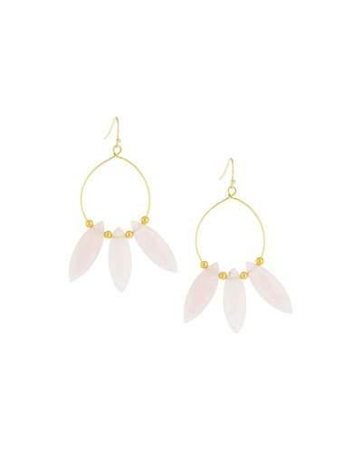Golden Rose Quartz Hoop Drop Earrings,