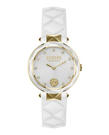 36mm Covent Garden Crystal Watch W/ Leather Strap, Gold/white