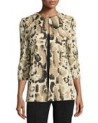 Animal-print Knit Long Jacket,