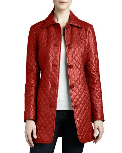 Quilted Long Leather Jacket,