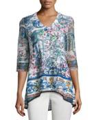 Mesh-sleeve Floral-print Top,