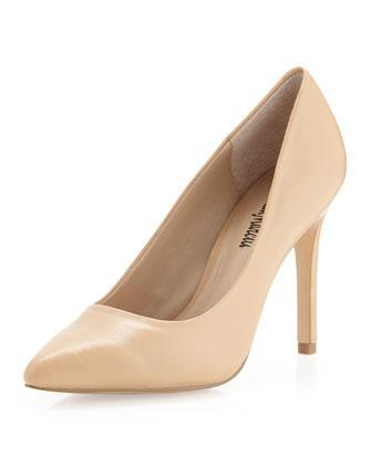 Neiman Marcus Eastonaa Pointy-toe Pump, Nude