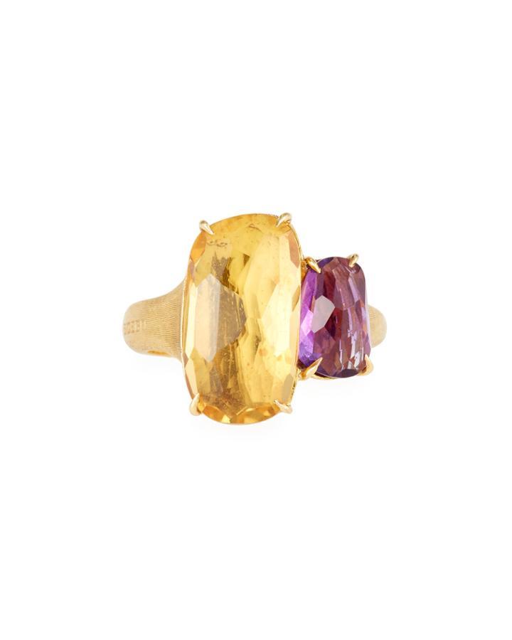 Murano 18k Gold Citrine & Tourmaline Ring