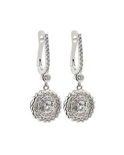18k White Gold Flower Drop Earrings,