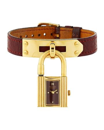 Estate Kelly Watch W/ Leather, Gold/burgundy