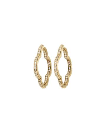 18k Large Diamond Clover Hoop Earrings
