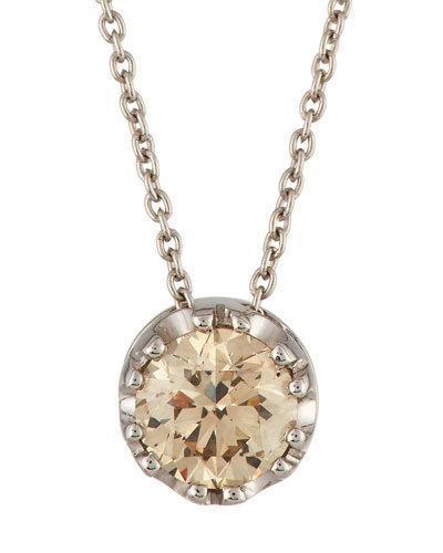 18k White Gold Brown Diamond Pendant Necklace