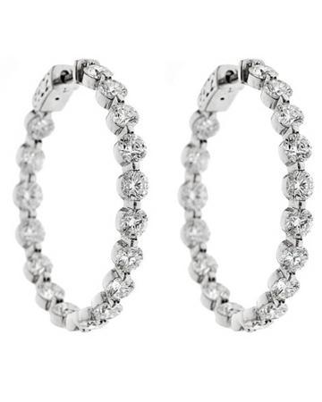 Neiman Marcus Diamonds 14k Diamond Hoop Earrings, 8.5tcw, Women's, Gold