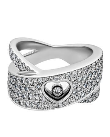 Estate 18k White Gold Diamond Happy Heart Ring,