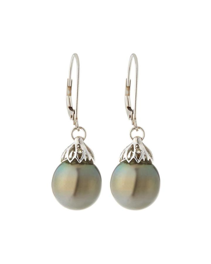 14k White Gold Petal Drop & Pearl Earrings