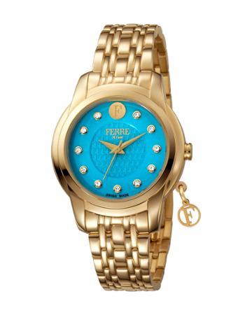 34mm Bracelet Watch W/ Logo Charm, Blue