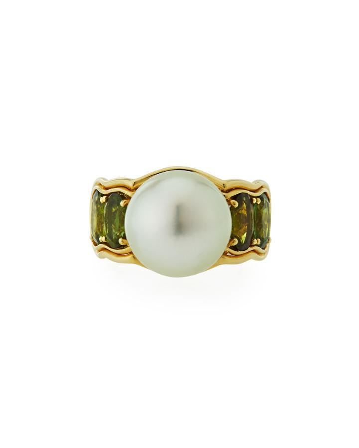 14k Green Tourmaline & South Sea Pearl Ring,