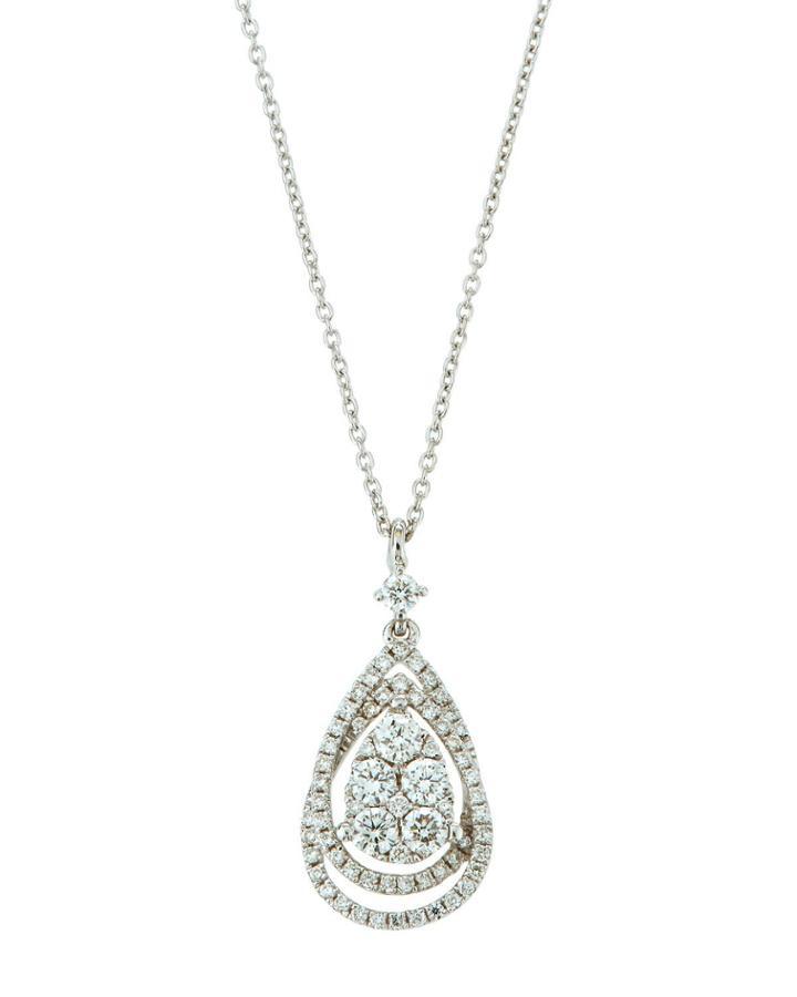 18k White Gold Diamond Teardrop Pendant Necklace