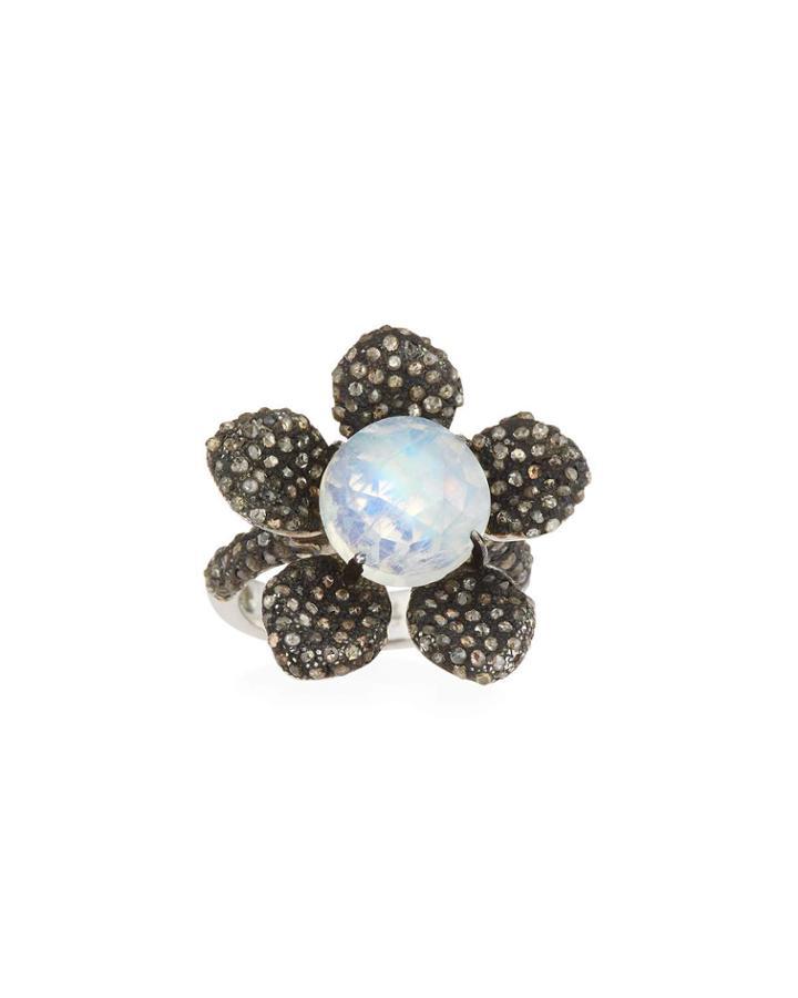 Rainbow Moonstone & Diamond Flower Ring,