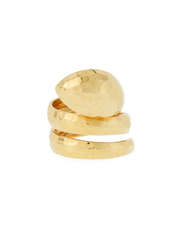 18k Hammered Snake Ring,