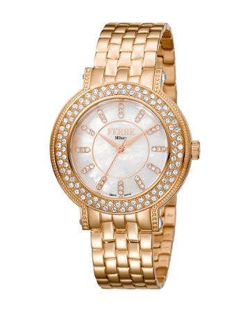 36mm Bracelet Watch W/ Crystal Bezel