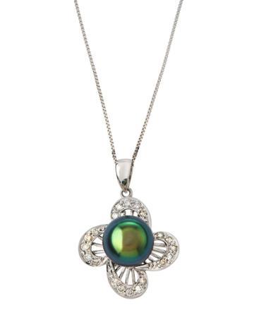 14k White Gold Diamond Flower & Pearl Pendant Necklace