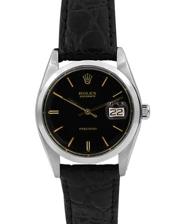 Pre-owned Men's 34mm Oysterdate Leather Watch, Black