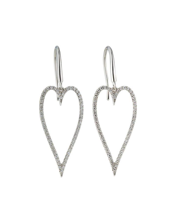 18k White Gold Diamond Heart Earrings